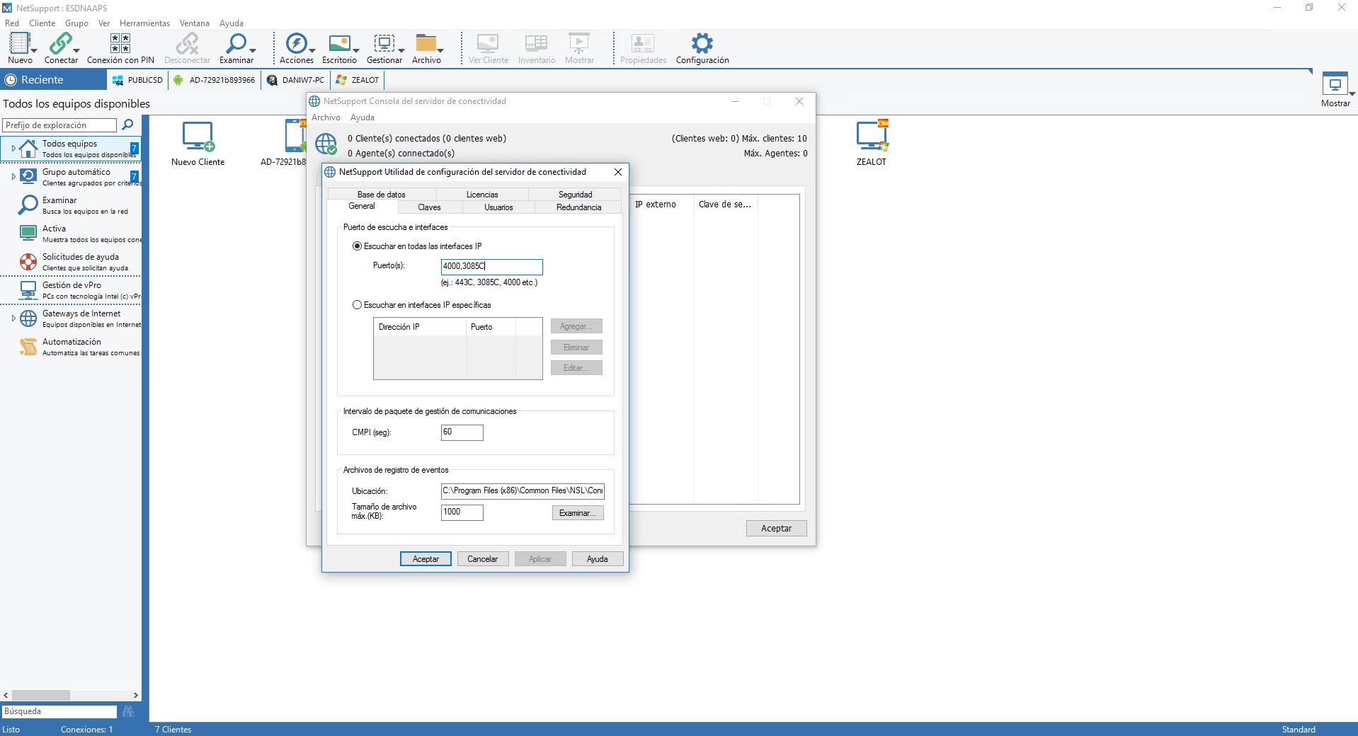 Puertos Gateway NetSupport Manager